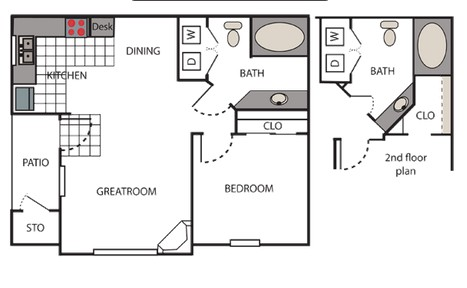 663 sq. ft. Meroma floor plan