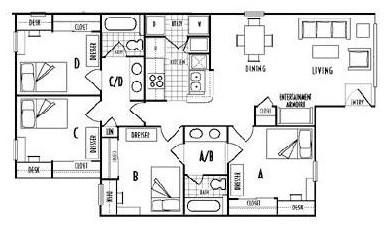 1,115 sq. ft. D1 floor plan