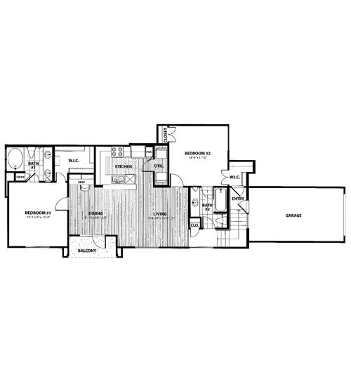 1,043 sq. ft. H1 floor plan