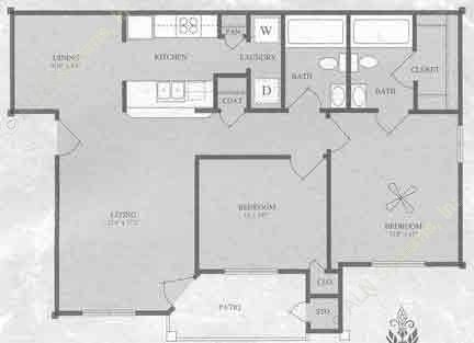 916 sq. ft. B1/60% floor plan