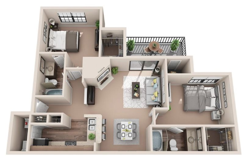 1,026 sq. ft. B1 floor plan