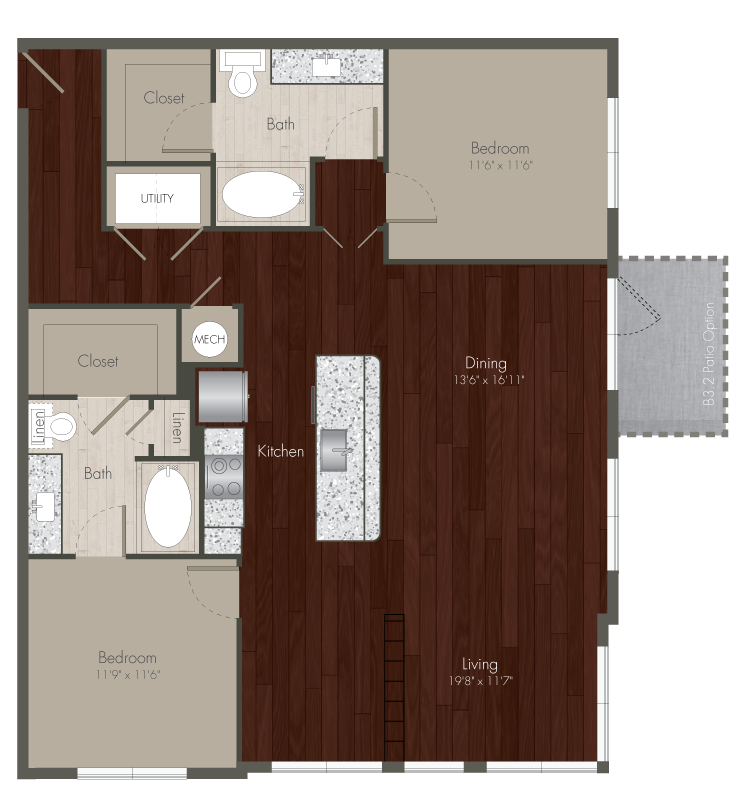 1,311 sq. ft. B3 floor plan
