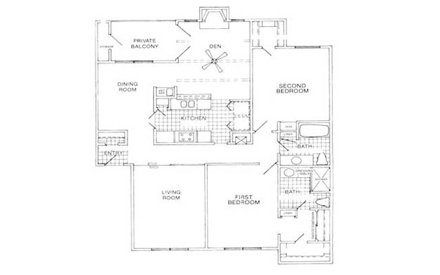 1,380 sq. ft. I floor plan