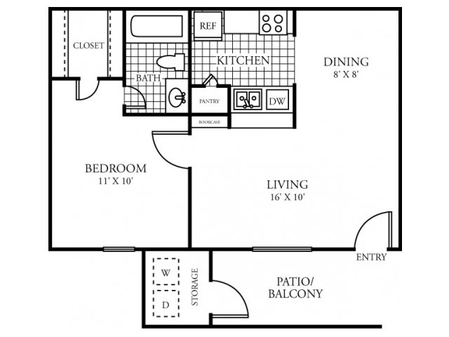532 sq. ft. A floor plan