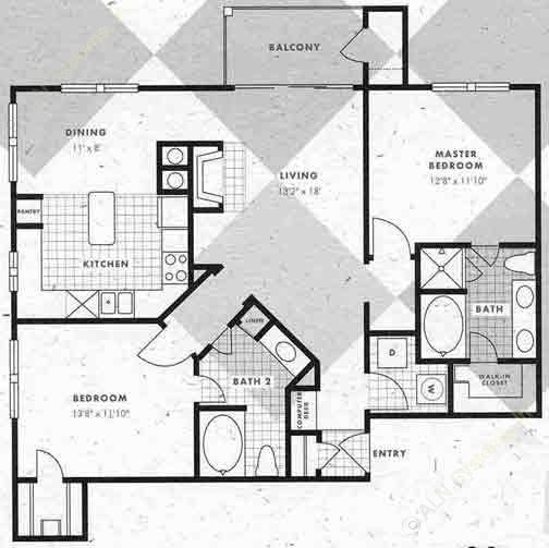 1,191 sq. ft. B3-B3G floor plan