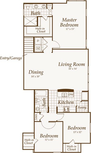 1,535 sq. ft. Park Place-Up floor plan