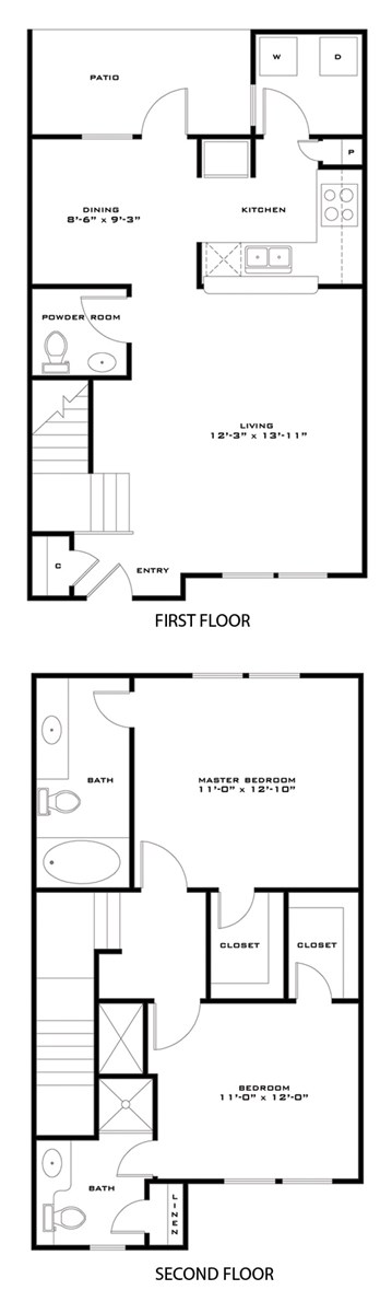 1,048 sq. ft. 60%/Monroe floor plan