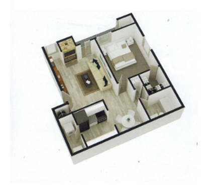 580 sq. ft. A4 floor plan