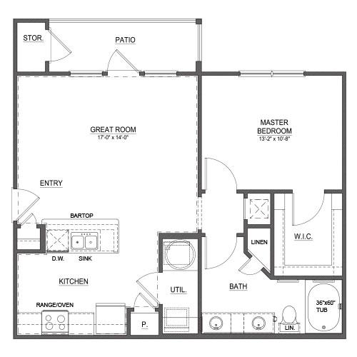 784 sq. ft. A2 floor plan