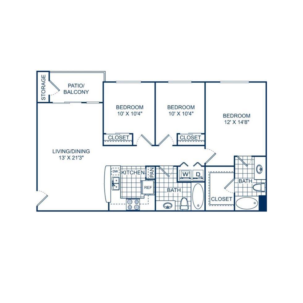 1,159 sq. ft. C1 60% floor plan