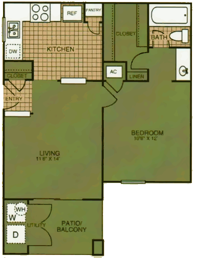 532 sq. ft. Pine Hill floor plan