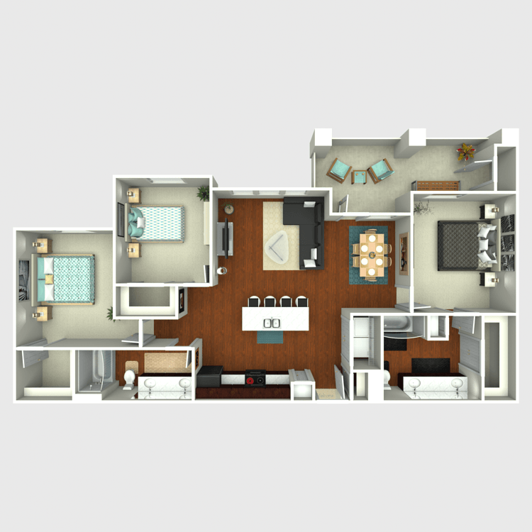 1,363 sq. ft. C1 floor plan