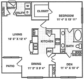 882 sq. ft. A5 floor plan