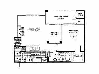 798 sq. ft. A3 floor plan