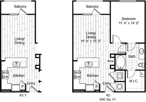 696 sq. ft. A5 floor plan