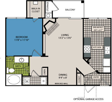 807 sq. ft. A7 floor plan