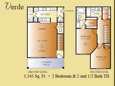 1,145 sq. ft. Verde floor plan