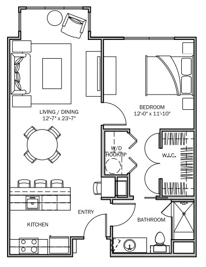 751 sq. ft. Primrose B 50% floor plan