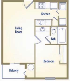 534 sq. ft. A1-II floor plan
