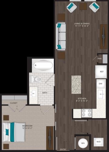 666 sq. ft. E3 floor plan