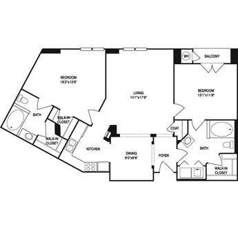 1,181 sq. ft. to 1,237 sq. ft. floor plan