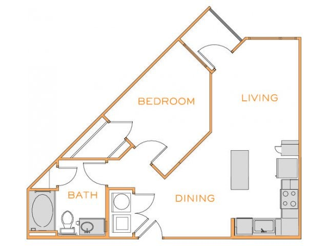 696 sq. ft. Birch 3 floor plan