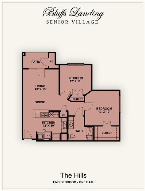 917 sq. ft. 60% floor plan