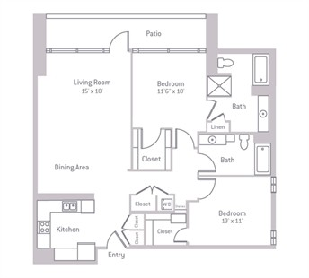 1,166 sq. ft. floor plan
