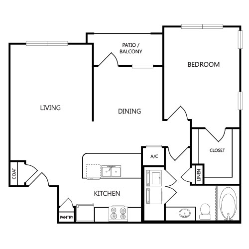 883 sq. ft. A3 floor plan