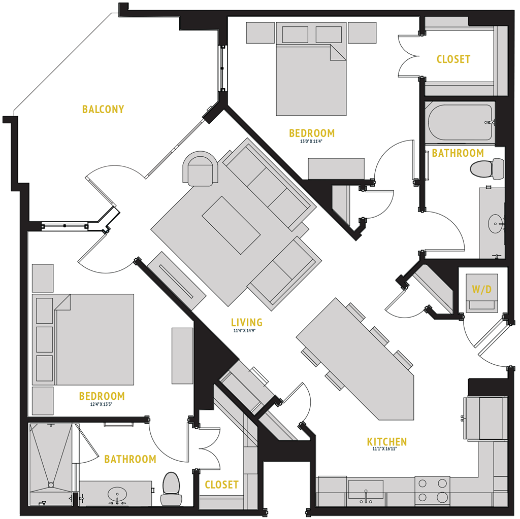 1,099 sq. ft. B1 floor plan