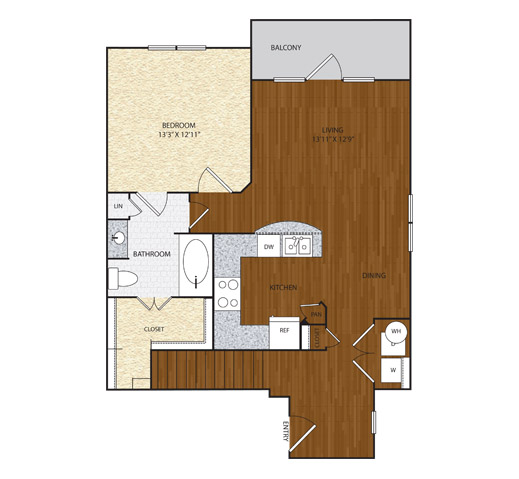 856 sq. ft. A2.2 floor plan