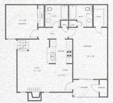 950 sq. ft. Sabine floor plan