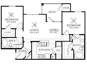 934 sq. ft. B1 floor plan