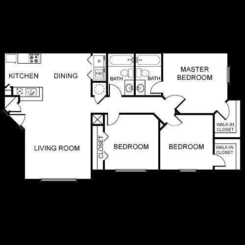 1,113 sq. ft. C2/60% floor plan