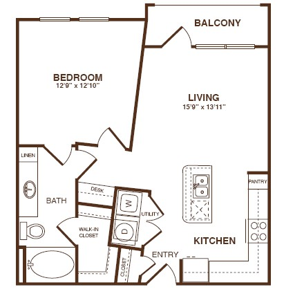 731 sq. ft. A2SB floor plan