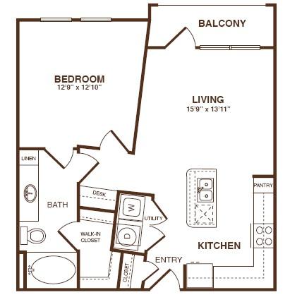 731 sq. ft. A2SB floor plan