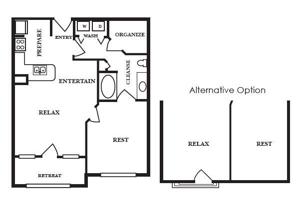 670 sq. ft. A floor plan