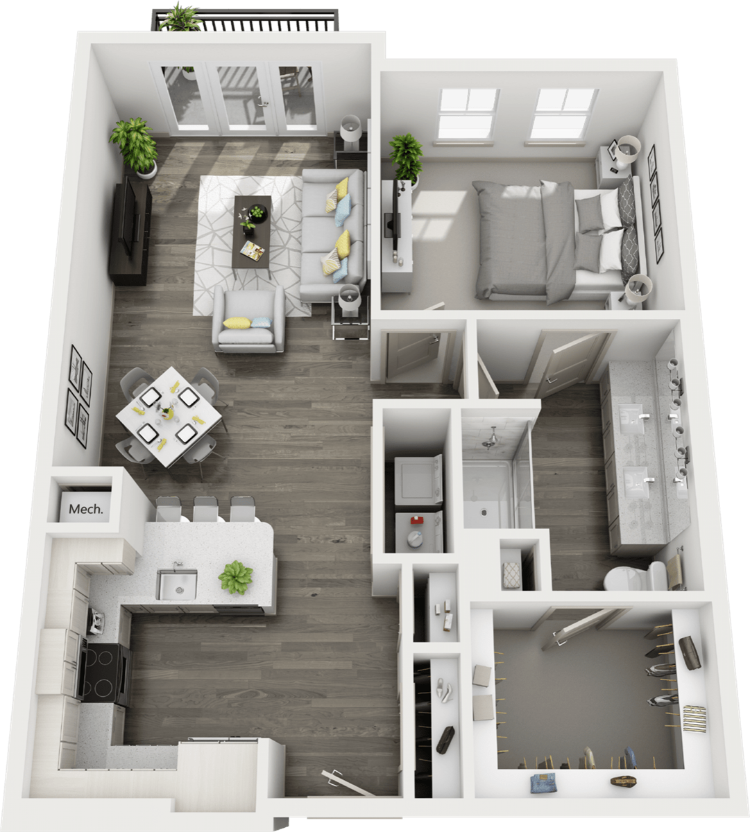 907 sq. ft. to 990 sq. ft. A5 floor plan
