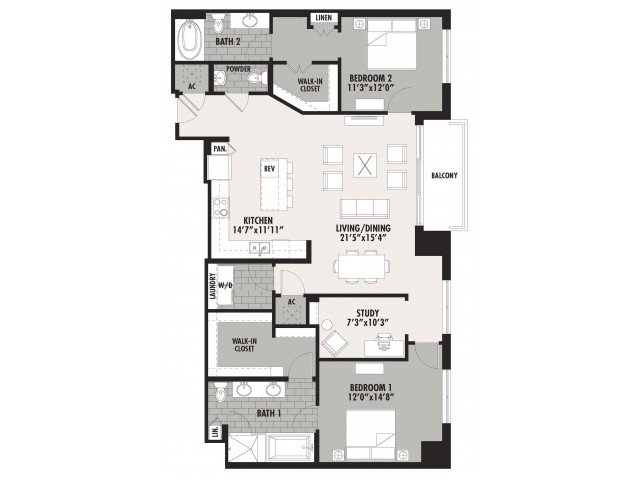 1,629 sq. ft. B9 floor plan