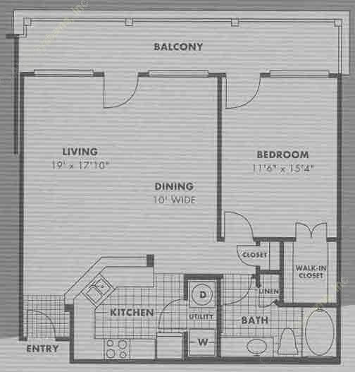 865 sq. ft. A7 floor plan