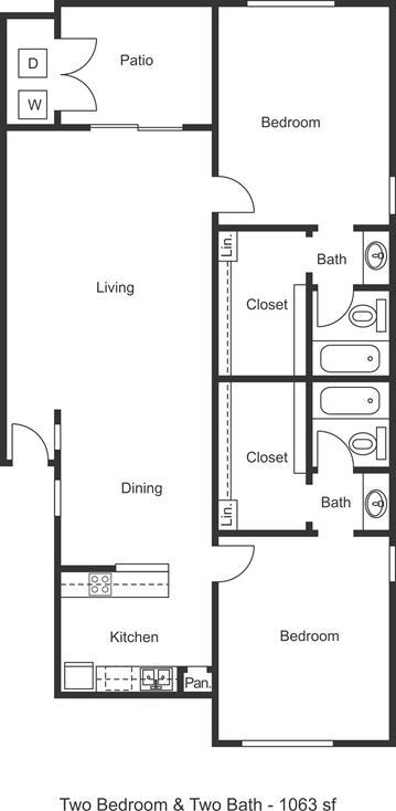 1,063 sq. ft. floor plan