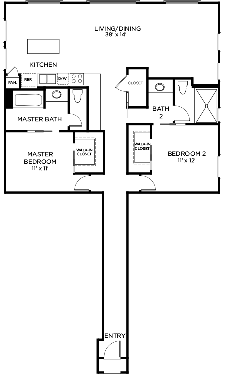 1,358 sq. ft. to 1,453 sq. ft. B2 floor plan