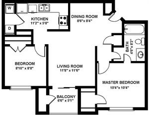 823 sq. ft. B1P floor plan