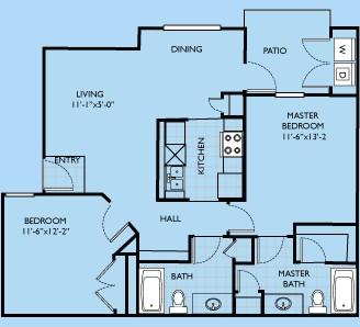 954 sq. ft. Savannah floor plan