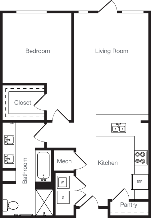 796 sq. ft. 1A floor plan