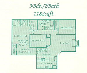 1,182 sq. ft. Buckingham floor plan
