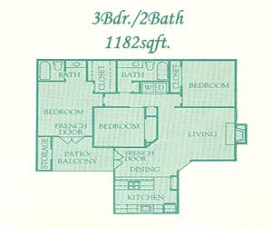 1,182 sq. ft. Buckingham floor plan