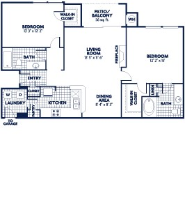 1,084 sq. ft. B5 floor plan