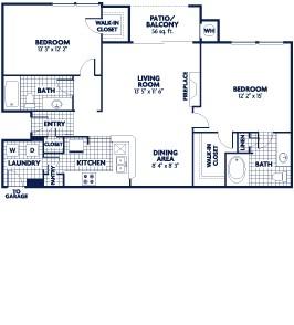 1,084 sq. ft. Livingstone floor plan