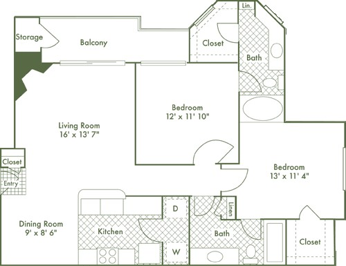 1,006 sq. ft. B1 floor plan